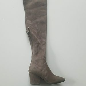 af22c98343e Goodnight Macaroon Shoes - Goodnight Macaroon Taupe Gray Over The Knee Boots